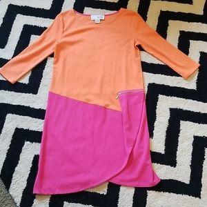Joan Vass color block asymmetrical dress